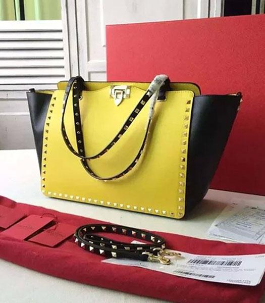 Valentino Medium Rockstud Tote Bag Yellow/Black Original Leather Golden Nail