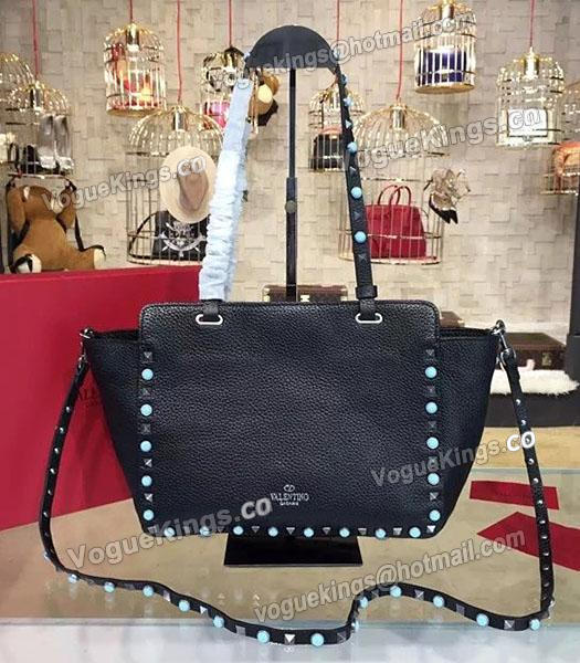 Valentino Rockstud Turquoise Calfskin Leather Tote Bag Black_1