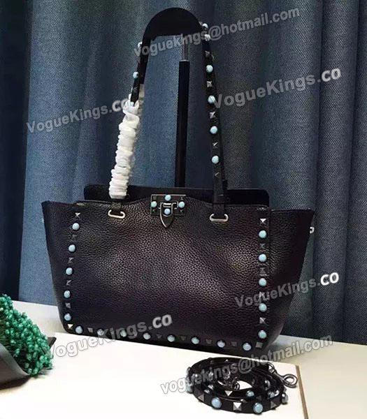 Valentino Rockstud Turquoise Calfskin Leather Tote Bag Black_2