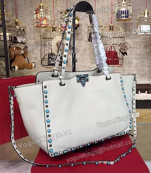 Valentino Rockstud Turquoise Calfskin Leather Tote Bag White-1