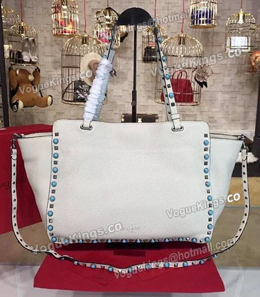 Valentino Rockstud Turquoise Calfskin Leather Tote Bag White-2