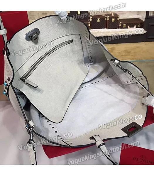 Valentino Rockstud Turquoise Calfskin Leather Tote Bag White-3