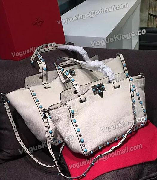 Valentino Rockstud Turquoise Calfskin Leather Tote Bag White-4