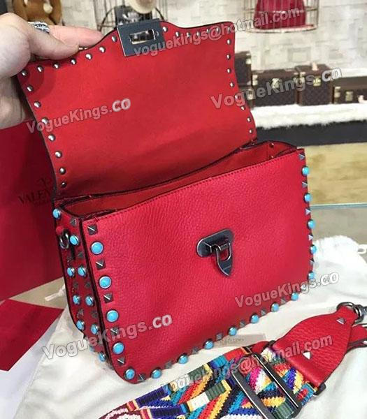 Valentino Rockstud Rolling Turquoise Shoulder Bag Red Calfskin Leather-1