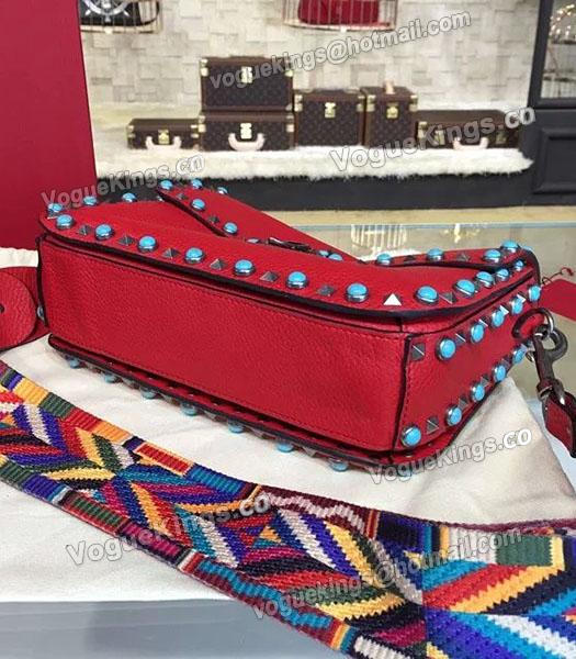 Valentino Rockstud Rolling Turquoise Shoulder Bag Red Calfskin Leather-2