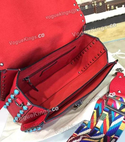 Valentino Rockstud Rolling Turquoise Shoulder Bag Red Calfskin Leather-3