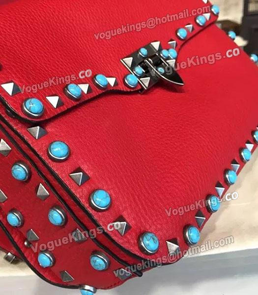 Valentino Rockstud Rolling Turquoise Shoulder Bag Red Calfskin Leather-4