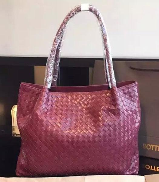 Bottega Veneta Woven Lambskin Leather Tote Handbag Red