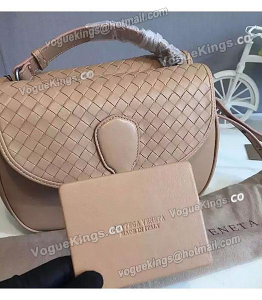 Bottega Veneta Woven Sheepskin Leather Crossbody Bag Apricot_2