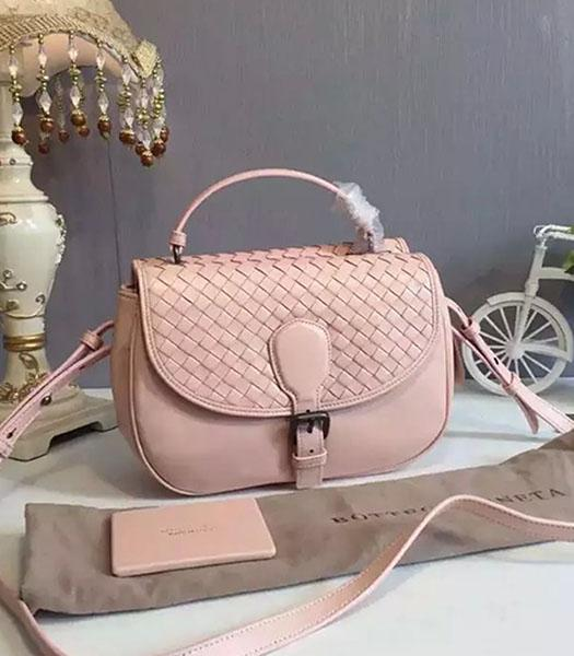 Bottega Veneta Woven Sheepskin Leather Crossbody Bag Light Pink