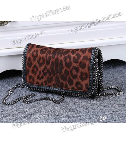 Stella McCartney Mini PVC Leopard Pattern Coffee Crossbody Bag Silver Chain_1