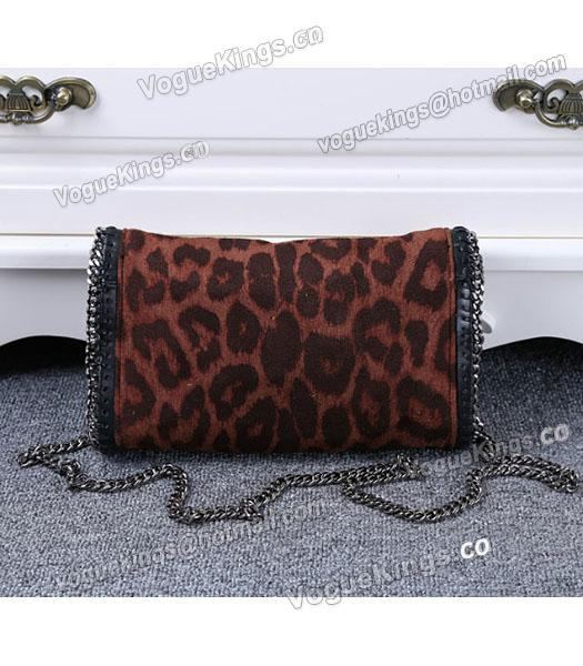 Stella McCartney Mini PVC Leopard Pattern Coffee Crossbody Bag Silver Chain-2