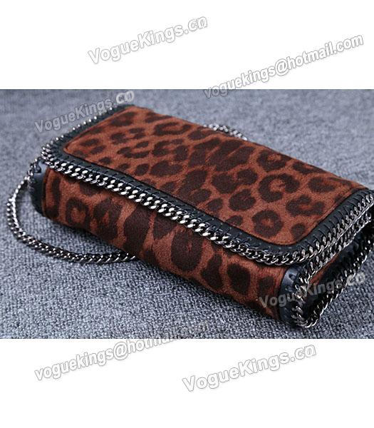Stella McCartney Mini PVC Leopard Pattern Coffee Crossbody Bag Silver Chain-3