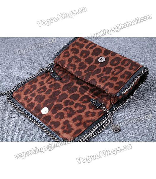 Stella McCartney Mini PVC Leopard Pattern Coffee Crossbody Bag Silver Chain-6