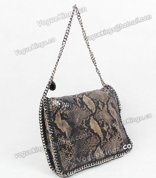 Stella McCartney Falabella PVC Coffee Snake Shoulder Bag Silver Chain_1