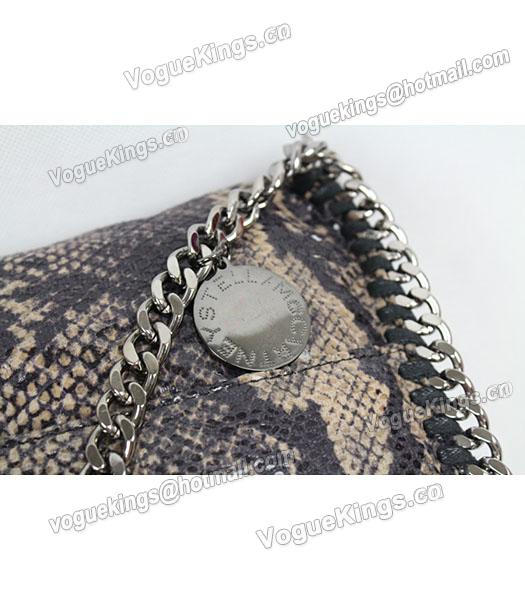 Stella McCartney Falabella PVC Coffee Snake Shoulder Bag Silver Chain_3