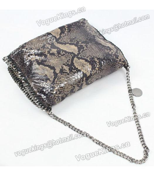 Stella McCartney Falabella PVC Coffee Snake Shoulder Bag Silver Chain_4