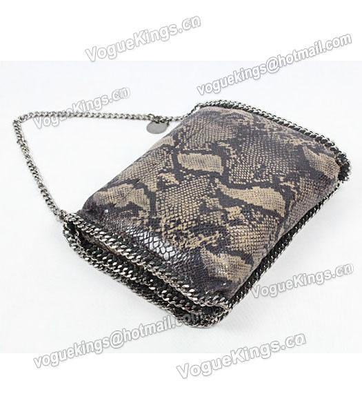 Stella McCartney Falabella PVC Coffee Snake Shoulder Bag Silver Chain_5