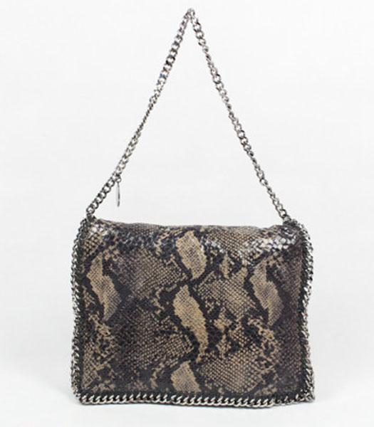 Replica Stella McCartney Falabella PVC Coffee Snake Shoulder Bag Silver Chain