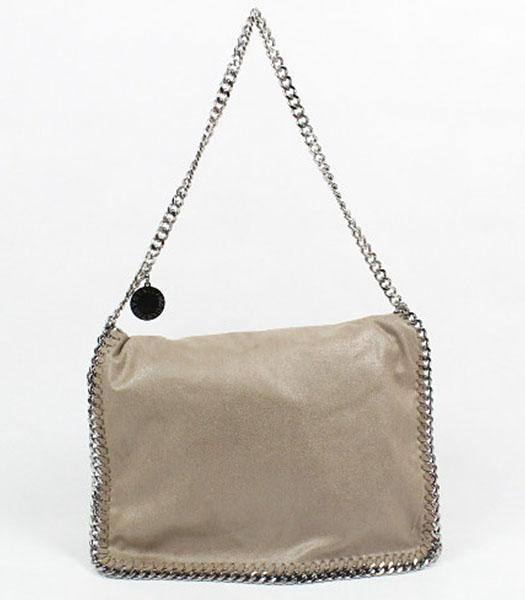 Stella McCartney Falabella PVC Khaki Shoulder Bag Silver Chain