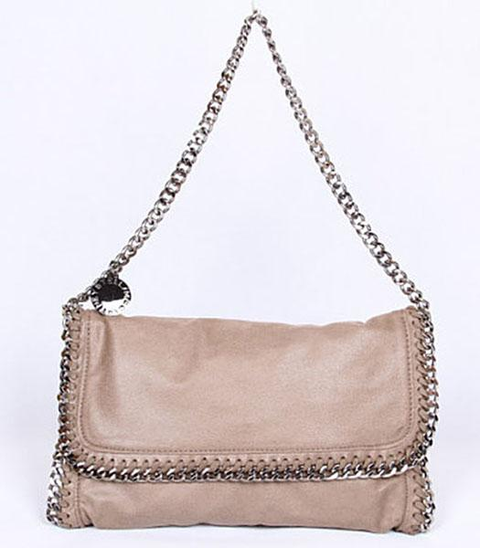 Stella McCartney Falabella Khaki Shoulder Bag PVC Leather Silver Chain