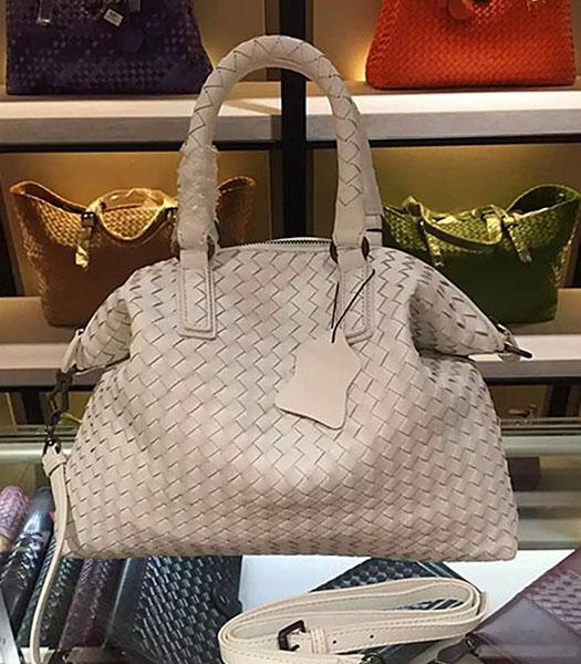 Bottega Veneta Lambskin Weaving Large Tote Bag White