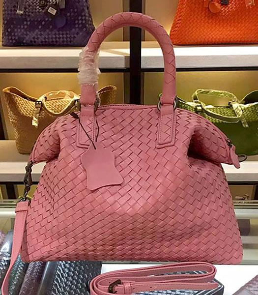 Bottega Veneta Lambskin Weaving Large Tote Bag Lipstick Pink