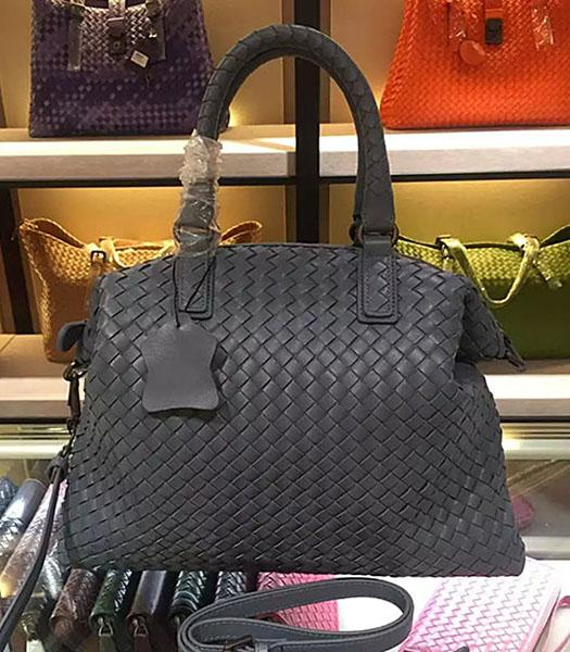 Bottega Veneta Lambskin Weaving Large Tote Bag Dark Grey
