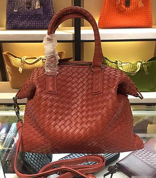 Bottega Veneta Lambskin Weaving Large Tote Bag Brick Red