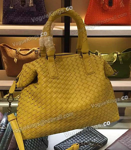 Bottega Veneta Lambskin Weaving Large Tote Bag Yellow-1