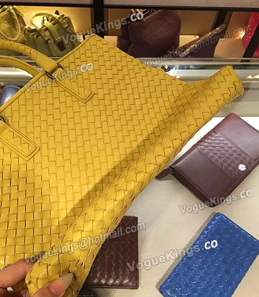 Bottega Veneta Lambskin Weaving Large Tote Bag Yellow-6