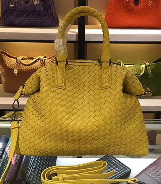 Bottega Veneta Lambskin Weaving Large Tote Bag Yellow