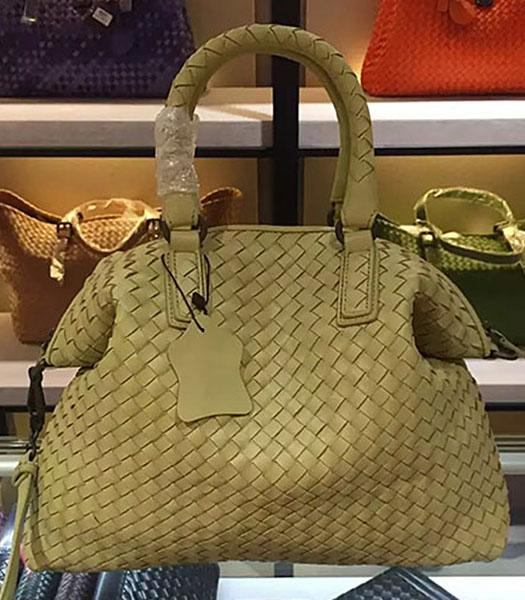 Bottega Veneta Lambskin Weaving Large Tote Bag Light Yellow