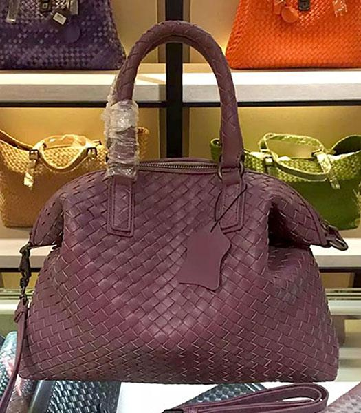 Bottega Veneta Lambskin Weaving Large Tote Bag Dark Purple