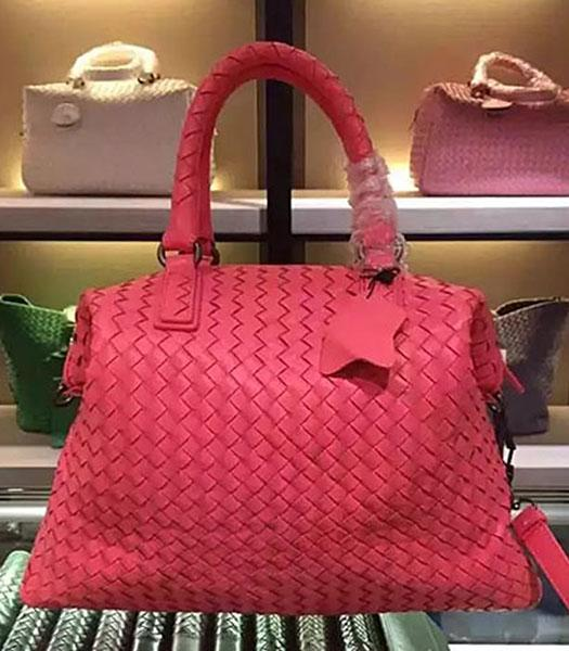 Bottega Veneta Lambskin Weaving Large Tote Bag Watermelon Red