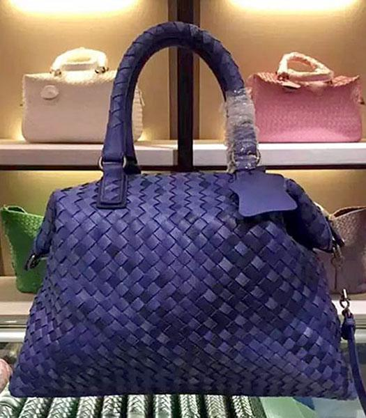 Bottega Veneta Lambskin Weaving Large Tote Bag Color Sapphire Blue