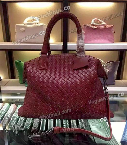 Bottega Veneta Lambskin Weaving Large Tote Bag Jujube Red-1