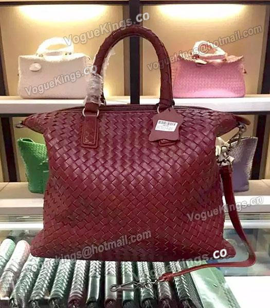 Bottega Veneta Lambskin Weaving Large Tote Bag Jujube Red-2