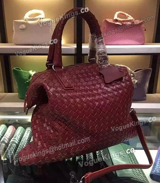 Bottega Veneta Lambskin Weaving Large Tote Bag Jujube Red-4