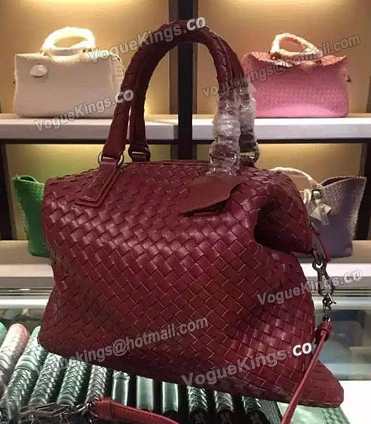Bottega Veneta Lambskin Weaving Large Tote Bag Jujube Red-5