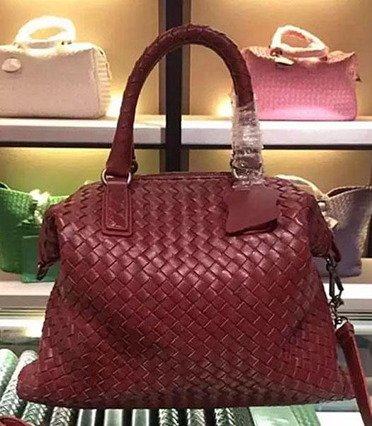 Bottega Veneta Lambskin Weaving Large Tote Bag Jujube Red