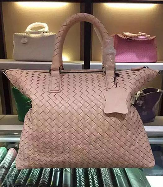 Bottega Veneta Lambskin Weaving Large Tote Bag Apricot