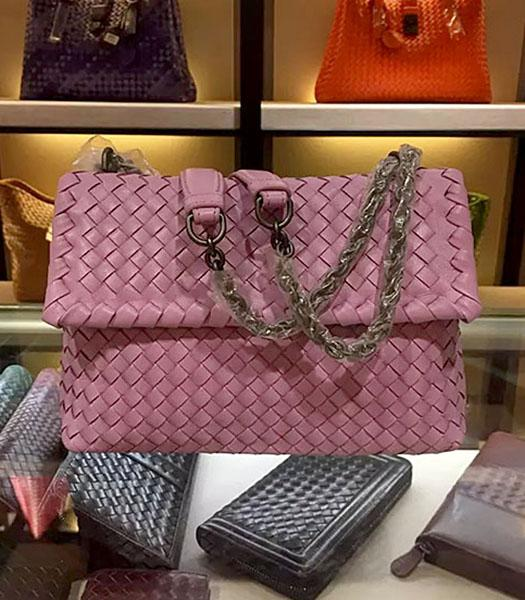 Bottega Veneta Imported Sheepskin Weave Small Shoulder Bag Barbie Pink