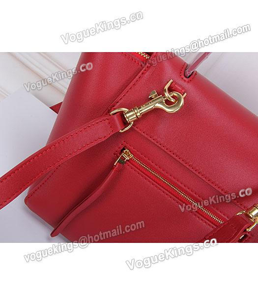 Celine Belt Red Leather Small Tote Bag-4