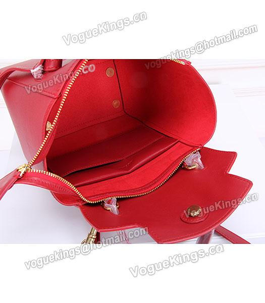 Celine Belt Red Leather Small Tote Bag-6