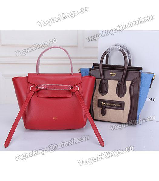 Celine Belt Red Leather Small Tote Bag-7