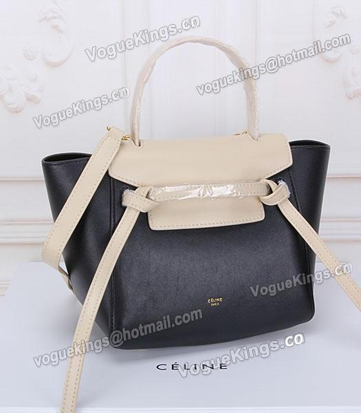 Celine Belt Small Tote Bag Offwhite&Black Leather-1