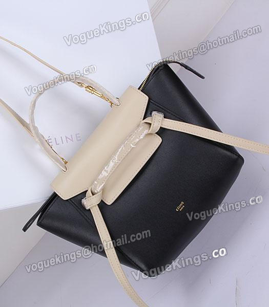 Celine Belt Small Tote Bag Offwhite&Black Leather-5