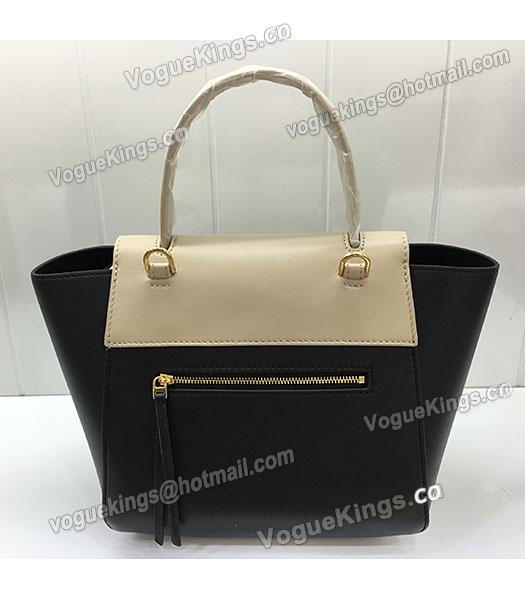 Celine Belt Small Tote Bag Offwhite&Black Leather-7