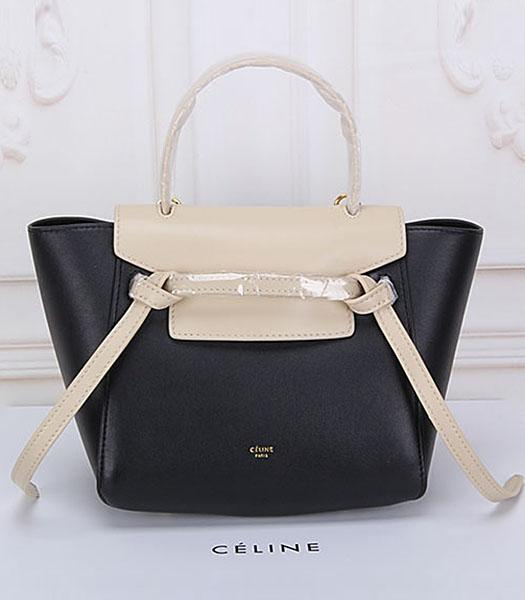 Celine Belt Small Tote Bag Offwhite&Black Leather